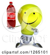 Clipart Of A 3d Yellow Light Bulb Character Holding A Soda Bottle Royalty Free Illustration