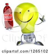 Clipart Of A 3d Yellow Light Bulb Character Holding Up A Finger And A Soda Bottle Royalty Free Illustration