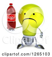 Clipart Of A 3d Sad Yellow Light Bulb Character Holding A Soda Bottle Royalty Free Illustration