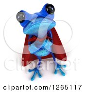 3d Blue Super Hero Springer Frog With Folded Arms