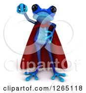3d Blue Super Hero Springer Frog Ready To Take Off