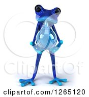 Clipart Of A 3d Blue Springer Frog Holding A Water Drop Royalty Free Illustration