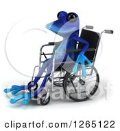 Clipart Of A 3d Blue Springer Frog Sitting In A Wheelchair Royalty Free Illustration by Julos