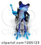 Clipart Of A 3d Blue Springer Frog Sitting In A Wheelchair And Giving A Thumb Up Royalty Free Illustration