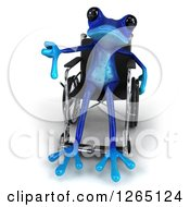 Clipart Of A 3d Blue Springer Frog Sitting In A Wheelchair And Giving A Thumb Down Royalty Free Illustration by Julos