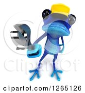 Clipart Of A 3d Blue Contractor Springer Frog Holding A Wrench Royalty Free Illustration by Julos