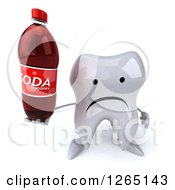 Clipart Of A 3d Unhappy Tooth Character Holding A Soda Bottle Royalty Free Illustration