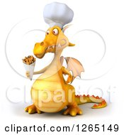 Clipart Of A 3d Yellow Dragon Chef Holding French Fries Royalty Free Illustration