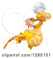 Clipart Of A 3d Yellow Dragon Chef Flying With French Fries Royalty Free Illustration