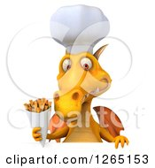 Clipart Of A 3d Yellow Dragon Chef Holding French Fries Over A Sign Royalty Free Illustration