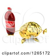 Clipart Of A 3d Gold Brain Character Holding A Soda And Thumb Down Royalty Free Illustration