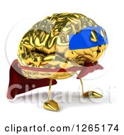 Clipart Of A 3d Gold Brain Super Hero Character Royalty Free Illustration