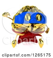 Clipart Of A 3d Gold Brain Super Hero Character Taking Off Royalty Free Illustration
