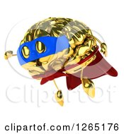 Clipart Of A 3d Gold Brain Super Hero Character Flying Royalty Free Illustration