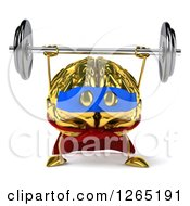 Clipart Of A 3d Gold Super Hero Brain Character Lifting A Barbell Royalty Free Illustration