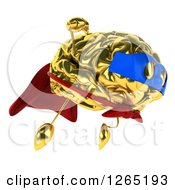 Clipart Of A 3d Gold Super Hero Brain Character Flying Royalty Free Illustration