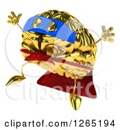 Clipart Of A 3d Gold Super Hero Brain Character Jumping Royalty Free Illustration