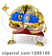 Clipart Of A 3d Gold Super Hero Brain Character Holding Up A Finger Royalty Free Illustration