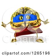 Clipart Of A 3d Gold Super Hero Brain Character Shrugging Royalty Free Illustration