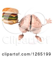 Clipart Of A 3d Brain Character Jumping With A Double Cheeseburger Royalty Free Illustration