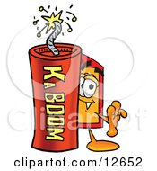 Clipart Picture Of A Price Tag Mascot Cartoon Character Standing With A Lit Stick Of Dynamite