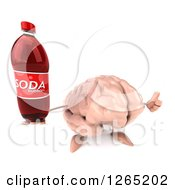 Clipart Of A 3d Brain Character Holding A Soda Bottle And Thumb Up Royalty Free Illustration