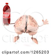 Clipart Of A 3d Brain Character Jumping And Holding A Soda Bottle Royalty Free Illustration