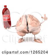 Clipart Of A 3d Brain Character Holding Up A Finger And A Soda Bottle Royalty Free Illustration