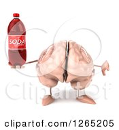 Clipart Of A 3d Brain Character Holding A Soda Bottle And Thumb Down Royalty Free Illustration