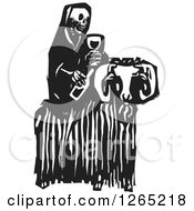 Clipart Of A Black And White Woodcut Skeleton Of Death Holding Wine And Sitting On A Ram Royalty Free Vector Illustration