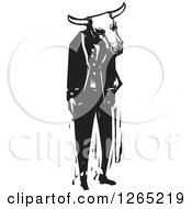 Black And White Woodcut Minotaur Or Man Wearing A Bull Head Mask