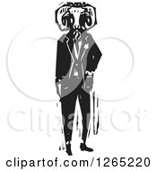Clipart Of A Black And White Woodcut Man Wearing A Ram Head Mask Royalty Free Vector Illustration