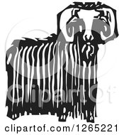 Clipart Of A Black And White Woodcut Ibex Ram With Long Wool Royalty Free Vector Illustration
