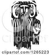 Clipart Of A Black And White Woodcut Greek God Pan Faun Royalty Free Vector Illustration