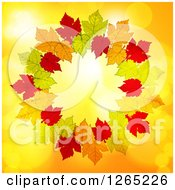 Clipart Of A Round Frame Of Autumn Leaves Over Yellow With Flares Royalty Free Vector Illustration