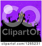 Spider Web Over A Hill With A Halloween Haunted House Cat Jackolantern And Cemetery Against A Full Moon And Purple Sky