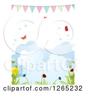 Clipart Of A Spring Bunting Banner Over Butterflies Bubbles Clouds And Plants Royalty Free Vector Illustration by elaineitalia