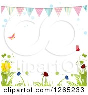 Clipart Of A Spring Bunting Banner Over Butterflies Bubbles And Plants Royalty Free Vector Illustration by elaineitalia