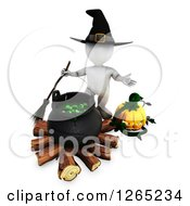 Clipart Of A 3d White Witch With A Jackolantern And Halloween Cauldron Royalty Free Illustration