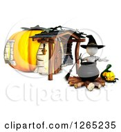 Clipart Of A 3d White Witch With A Jackolantern And Halloween Cauldron At A Pumpkin House Royalty Free Illustration