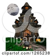 Clipart Of A 3d Brown Witch With A Cauldron At A Haunted House Royalty Free Illustration