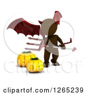 Clipart Of A 3d Brown Man In A Demon Halloween Costume Royalty Free Illustration by KJ Pargeter