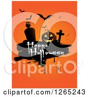 Clipart Of Vampire Bats An Owl Spider Tombstones And Jackolantern With Happy Halloween Text Over Orange Royalty Free Vector Illustration by KJ Pargeter