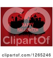 Clipart Of A Grunge Black Cemetery Scene With Happy Halloween Text And Bats On Red Royalty Free Vector Illustration
