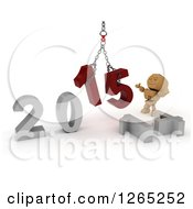 Clipart Of A 3d Box Boy Assembling New Year 2015 Numbers Together With A Hoist Royalty Free Illustration
