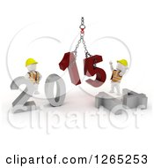 Clipart Of 3d New Year White Construction Characters Replacing 2014 With 2015 Royalty Free Illustration