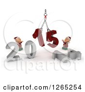 Clipart Of 3d Christmas Elves Assembling New Year 2015 With A Hoist Royalty Free Illustration
