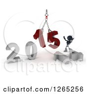 Clipart Of A 3d Blue Android Robot Assembling New Year 2015 Numbers Together With A Hoist Royalty Free Illustration