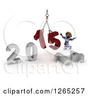 Clipart Of A 3d Robot Assembling New Year 2015 Numbers Together With A Hoist Royalty Free Illustration