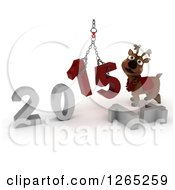 Clipart Of A 3d Reindeer Assembling New Year 2015 Numbers Together With A Hoist Royalty Free Illustration